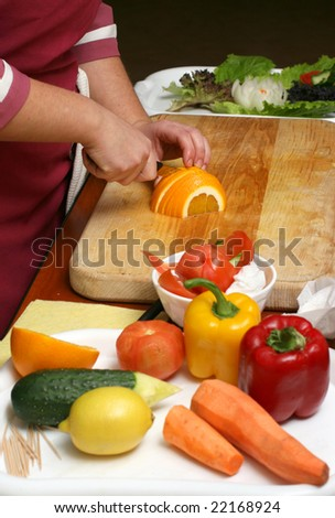 Preparation of salad from various vegetables
