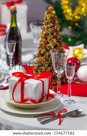 Preparations for Christmas dinner - stock photo