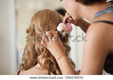 preparations for the wedding ceremony the bride, hairstyle, makeup, beauty - stock photo
