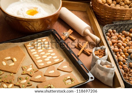 Prepare dough for gingerbread cookies on a baking tray