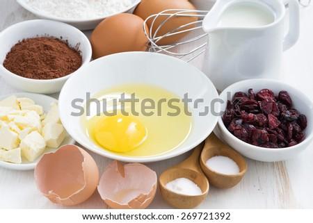 prepared baking ingredients, close-up - stock photo