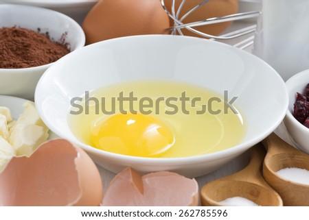 prepared baking ingredients, close-up, horizontal - stock photo