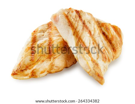 Prepared chicken meat. Breast fillet slices isolated. With clipping path. - stock photo