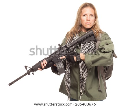 Prepared for an Environmental disaster. Post apocalyptic female survivor with rifle looking serious on white background. - stock photo