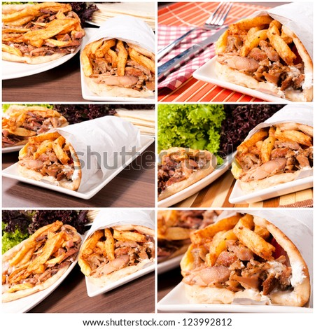 Prepared gyros ready to be served - stock photo
