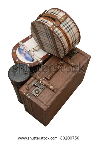 Prepared Luggage and Suitcases isolated on white from top - stock photo