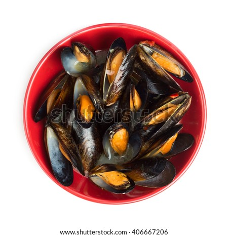 Prepared mussels in red pot isolated on white background - stock photo