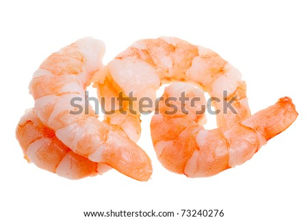 prepared shrimp isolated on a white background - stock photo