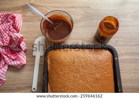 Preparing Chocolate Cake - stock photo
