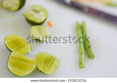 Preparing food for thai food cooink class. - stock photo