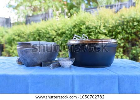 Preparing Barbecue Outside Summer Garden Background Stock Photo ...