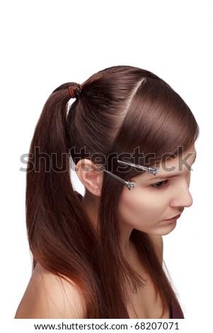 preparing for  haircutting - stock photo