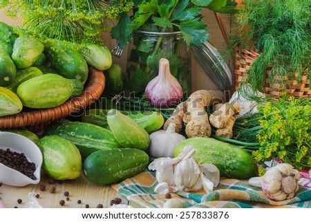 Preparing for pickling cucumbers: the various components - stock photo