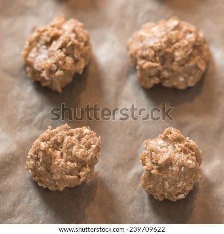 Preparing oatmeal cookies. - stock photo