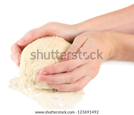 Preparing pizza dough isolated on white