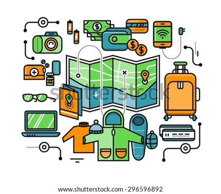 Preparing to travel. Necessary items for the journey. What to pack. Stroke icons for web design, analytics, graphic design and in flat design. Raster version - stock photo