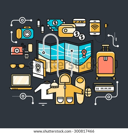 Preparing to travel. Necessary items for the journey. What to pack.  Thin, lines, outline icons for web design, analytics, graphic design and in flat design on black color background. Raster version - stock photo