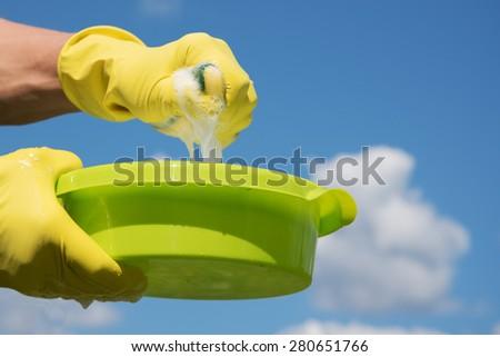 Preparing to washing. - stock photo
