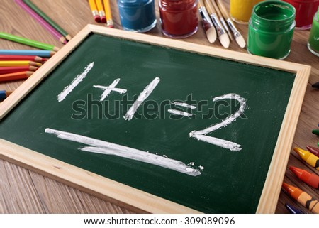 Preschool basic simple mathematics formula written on a small blackboard - stock photo