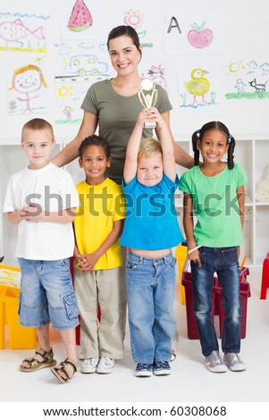 preschool class winning a trophy - stock photo