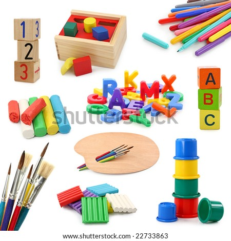 Preschool objects collection isolated on white background - stock photo