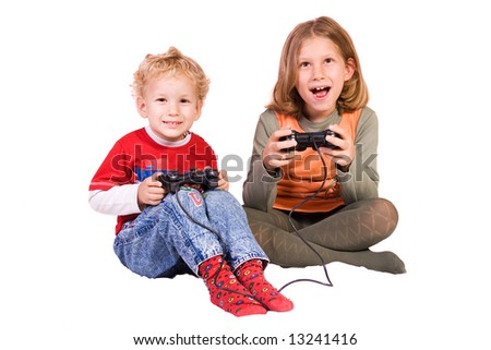 preschooler and schoolgirl playing games, isolated on white background - stock photo