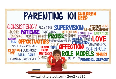 Preschooler child at classroom desk with broken red heart in front of Parenting 101 whiteboard: (Consistency, Opportunities, Affection, Love, Schedule, Role Models, Health Care, Education, Fun, Sleep) - stock photo