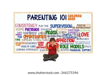 Preschooler child with broken red heart in front of Parenting 101 whiteboard: (Consistency, Opportunities, Affection, Love, Schedule, Role Models, Health Care, Education, Fun, Sleep) - stock photo