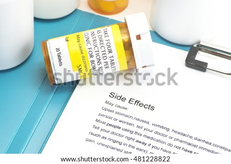 Prescription bottle with directions for use.  Labels and document are created by photographer.