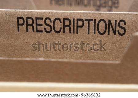 Prescriptions section tab in folding file. - stock photo