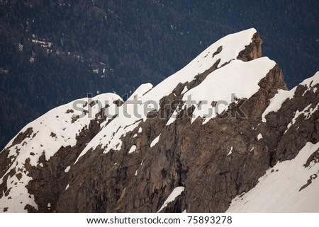 Presena Peak and its glacier, 3065 meters on the sea-level. Trento province, Trentino-Alto Adige region, Italy - stock photo