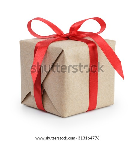present box from brown papaer with red ribbon bow, isolated on white background - stock photo