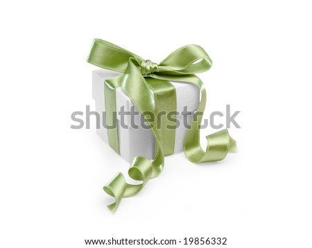 present box with green ribbon on white background. FIND MORE present boxes in my portfolio - stock photo