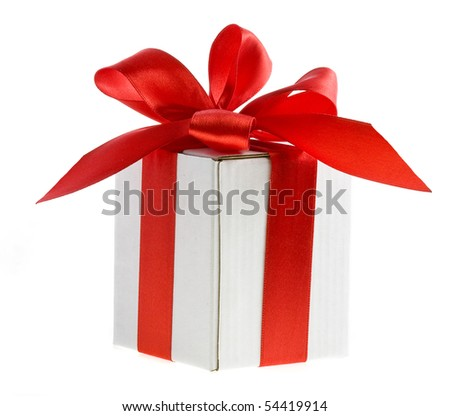 present box with red bow isolated on white - stock photo