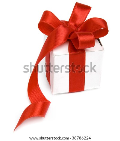 present box with red bow Isolated on white background.