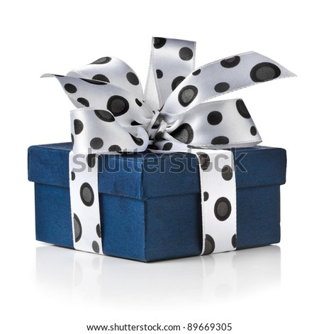 present box with  ribbon bow isolated on white - stock photo