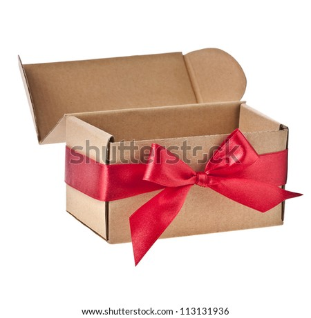 present box wrapped red ribbon bow isolated on white - stock photo
