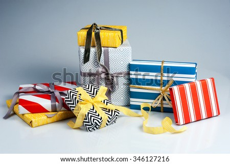 Present Boxes. Christmas Gifts - stock photo
