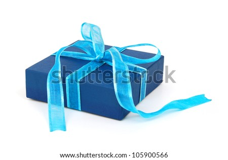 Present In Blue Gift Box With Green & Ribbon Bow Isolated On White Background ~ Clipping Path Included - stock photo