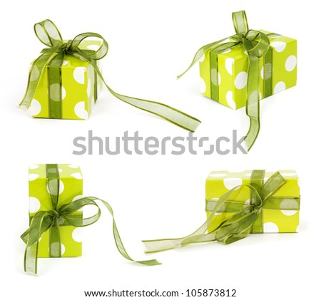 Present In Green Gift Boxes  With Green & Ribbon Bow Isolated On White Background ~ Clipping Path Included - stock photo