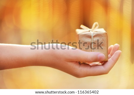 Present in the hands of a child. Beautiful background blur. - stock photo