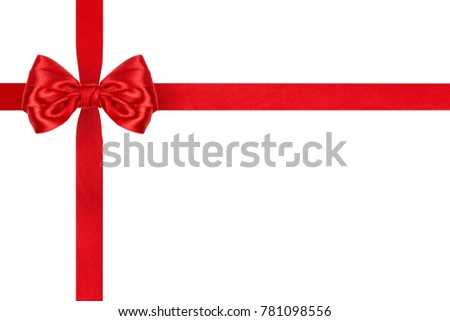 present red satin ribbon bow with crosswise ribbons isolated on white background