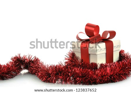 Present with ribbon and copy space - stock photo