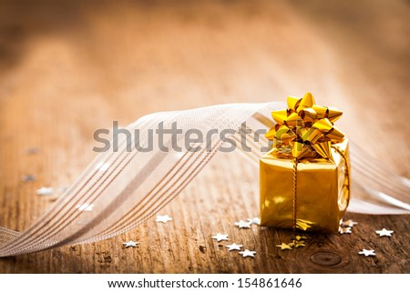 present with ribbon for christmas   - stock photo