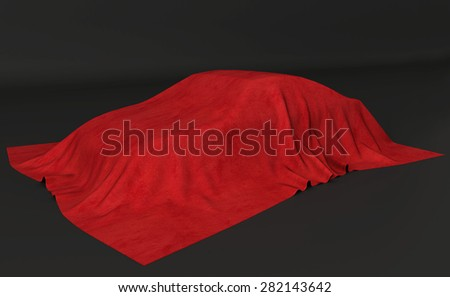 Presentation of the car. Autoshow. Car under the tissue. Black backgound - stock photo