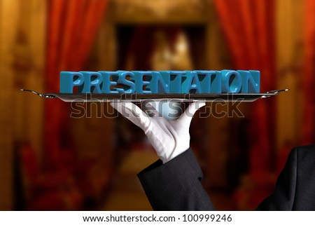 Presentation on a dinner tray - stock photo