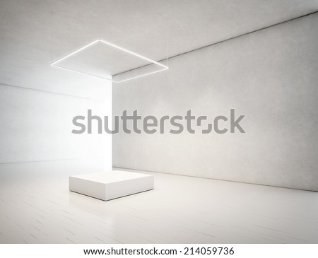 presentation room with empty podium - stock photo