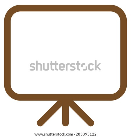 Presentation screen icon from Basic Plain Icon Set. Style: flat symbol icon, brown color, rounded angles, white background.