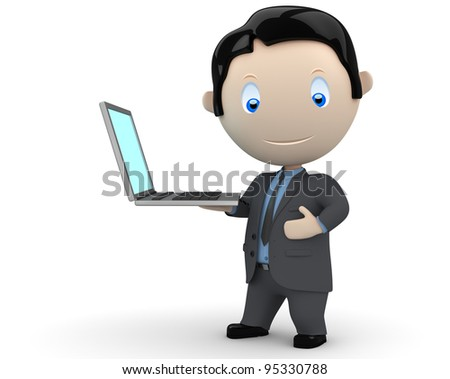 Presentation! Social 3D characters: happy smiling businessman presents notebook on his palm. New constantly growing collection of people images. Concept for computer generation illustration. Isolated. - stock photo