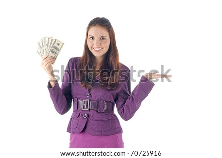 Presenting things. Smiling businesswoman holding dollars - stock photo